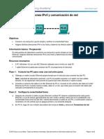 3.4.4.3 Lab - Direcciones IPv4 y Comunicación de Red-conexion 2 Pc Cables Cruzados