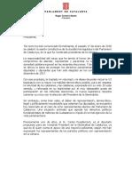 Carta de Roger Torrent a Mariano Rajoy para pedirle una reunión