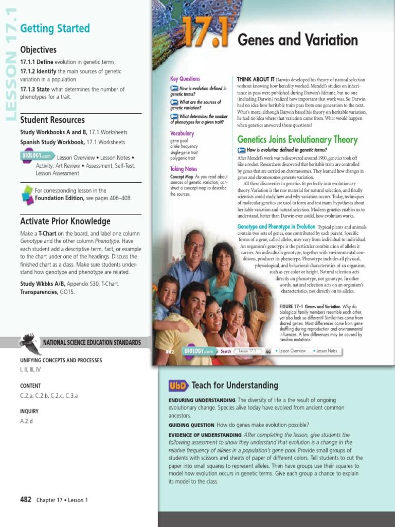 17-1 Teachers Edition | Evolution | Heredity