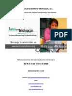 Síntesis Educativa Semanal de Michoacán del 15.01.2018