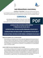 convocatoria UPN 2018