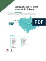 Perfil demográfico 2016 - 2020 de la comuna 14 El Poblado