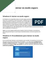 Windows 8 Iniciar en Modo Seguro