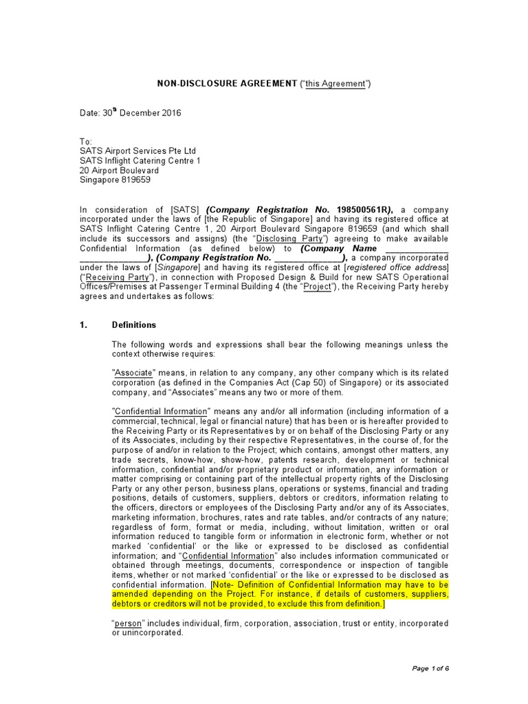Nda Non Disclosure Agreement Indemnity Confidentiality