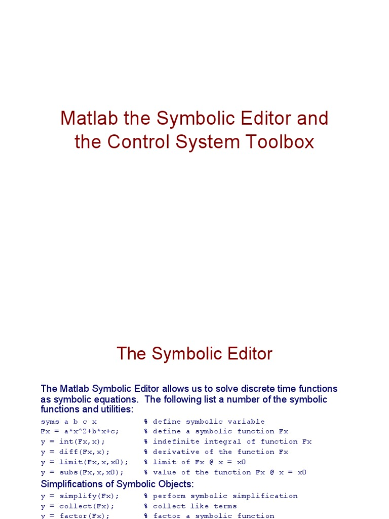 Matlab And The Control System Toolbox Laplace Transform