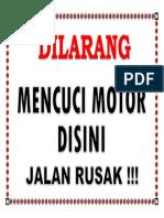 Dilarang Cuci Motor