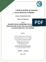 PROPUESTA PARA EL MEJORAMIENTO DE LOS PROCESOS PRODUCTIVOS DE UN TALLER METALMECÁNICO