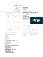Format for a Curriculum Vitae