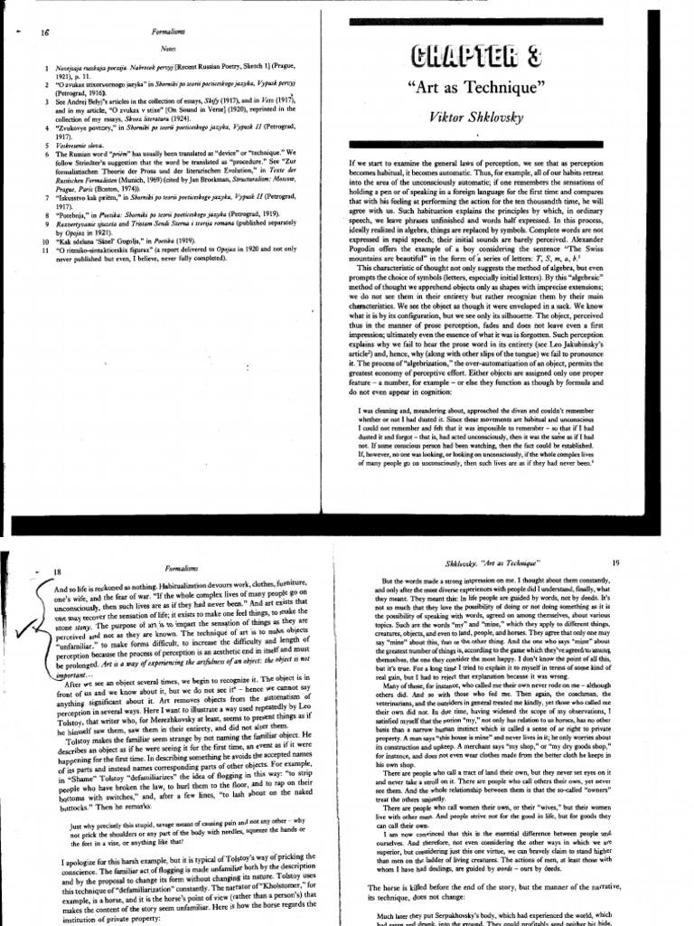 shklovsky art as technique essay