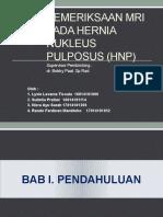 Pemeriksaan Mri Pada Hernia Nukleus Pulposus (Hnp)