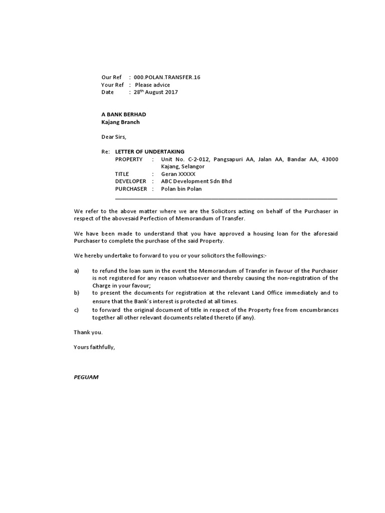 Sample letter of undertaking to bank and confirmation to loan sample letter of undertaking to bank and confirmation to loan solicitors common law virtue spiritdancerdesigns Choice Image