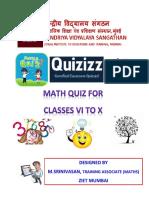 646853052math Quiz for Classes Vi to x