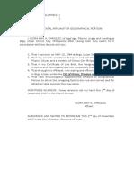 Supplemental Affidavit of Geographical Location- Birth Certificate