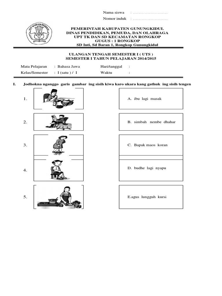 Soal Bahasa Jawa Kelas 1 Kurikulum 2013
