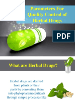 Parameters for Quality Control of Herbal Drugs