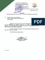 Advisory (Regional Memorandum No. 96 s. 2017 - 7th Bicol Patiribayan Festival)