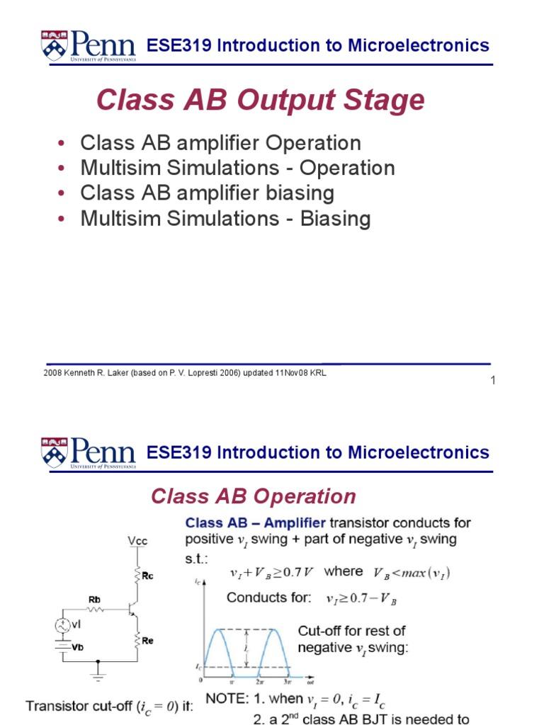 Lec 22 ClassAB Amplifier 08 | Amplifier | Bipolar Junction