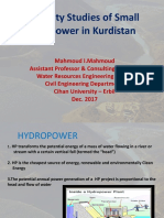 Feasibility Studies of Small Hydropower in Kurdistan
