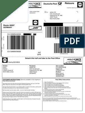 Cargado instalaciones limpiador  Return Label   United States Postal Service   Postal System