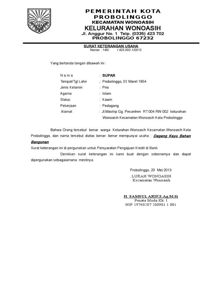 Surat Keterangan Usaha Doc