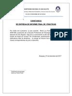 Constancia de Entrega de Informe Final