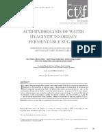 ACID HYDROLYSIS OF WATER HYACINTH TO OBTAIN FERMENTABLE SUGARS. CT&F - Ciencia, Tecnología y Futuro - Vol. 5 Num. 2 Jun. 2013 Pag. 101 - 112