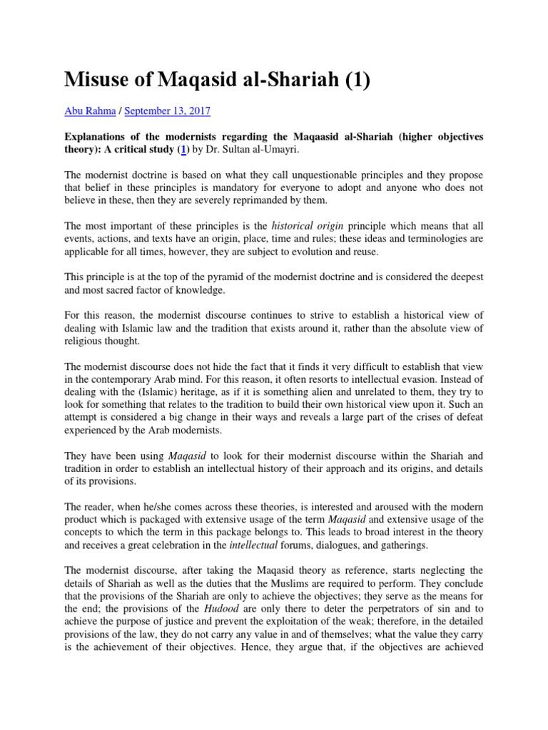 Concept of maqasid al syariah essay