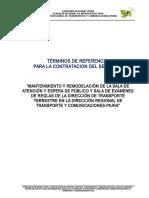 TdR Mantenimiento y Remodelacion de La Sala de Espera y Atencion Al Publico DRTYC.