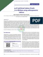 Screening of nutritional status of male undergraduates in Kolkata using anthropometric indices