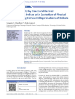 Screening Obesity by Direct and Derived Anthropometric Indices with Evaluation of Physical Efficiency Among Female College Students of Kolkata