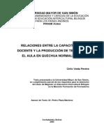 RELACIONES ENTRE LA CAPACITACIÓN DOCENTE Y LA PRODUCCIÓN DE TEXTOS EN EL AULA EN QUECHUA NORMALIZADO