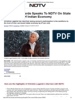 Christine Lagarde Speaks to NDTV on State of Indian Economy