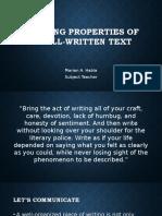 Applying Properties of a Well-written Text