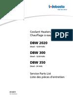 Webasto Service parts list DWB2020, DBW 300, DBW 350
