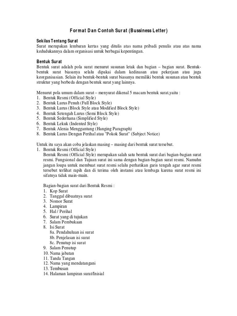 Contoh Surat Dinas Full Block Style Suratmenuhargacom