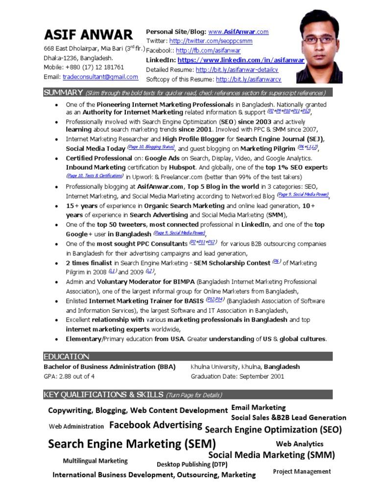 Portfolio & Resume of Asif Anwar - Digital Marketing Specialist