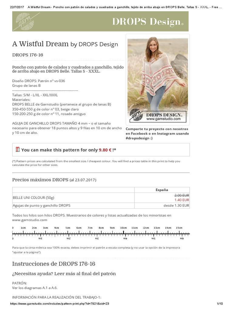 A Wistful Dream - Poncho Con Patrón de Calados y Cuadrados a ...