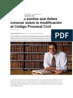 Los Siete Puntos Que Debes Conocer Sobre La Modificación Al Código Procesal Civil