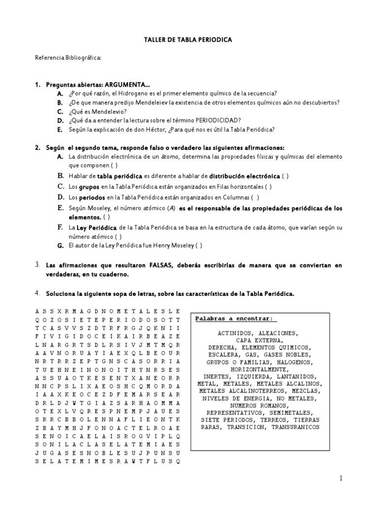 Taller tabla periodica urtaz Choice Image