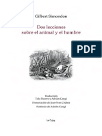 Simondon, Gilbert. Dos Lecciones Sobre El Animal y El Hombre