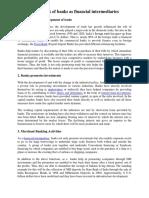 Modern Functions of Banks as Financial Intermediaries