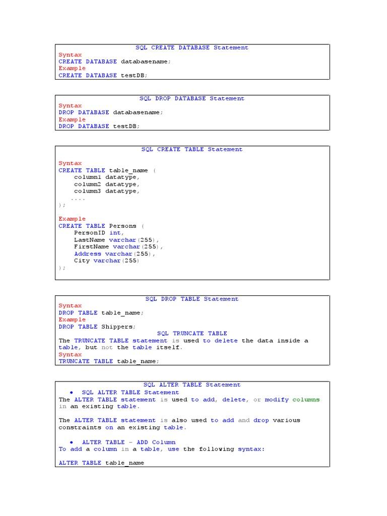Sql Statement Database Index Relational Database