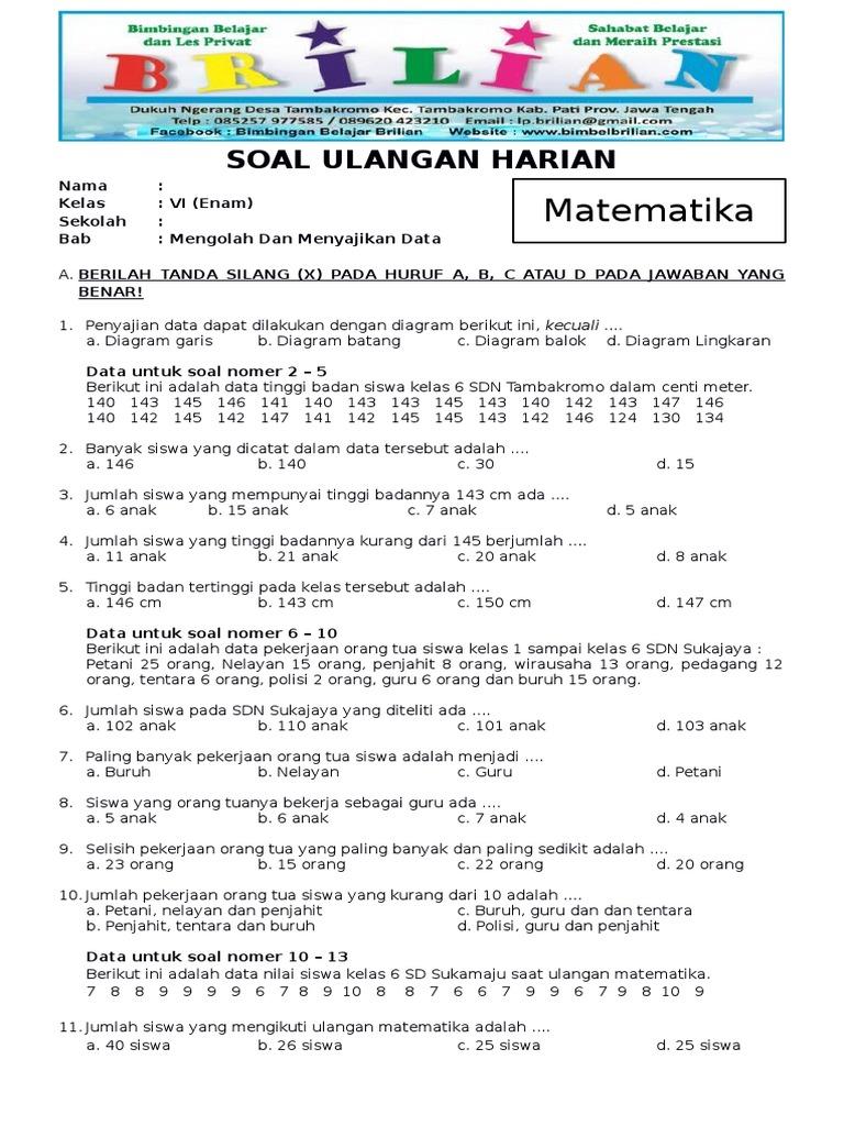 Soal matematika kelas 6 sd bab 4 pengolahan dan penyajian data dan soal matematika kelas 6 sd bab 4 pengolahan dan penyajian data dan kunci jawaban bimbelbrilian pdf ccuart Image collections