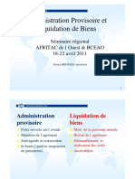 Branger Administration Provisoire Et Liquidation de Biens.