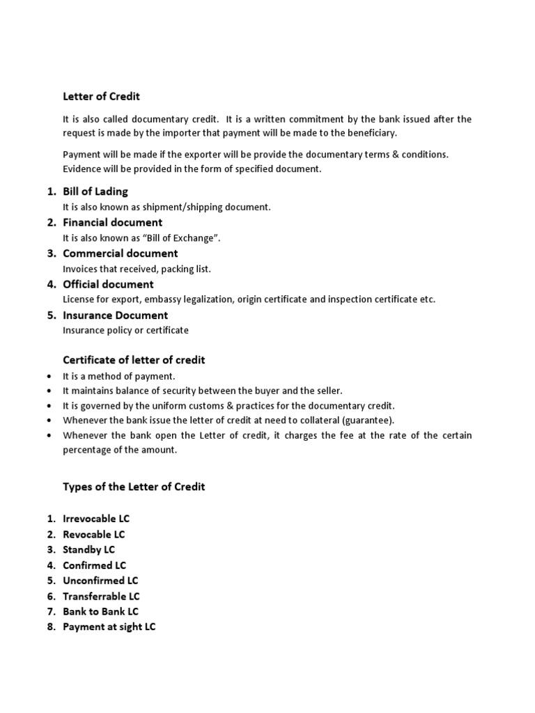 Letter of Credit Letter Credit