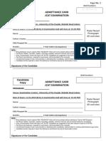 Application Form for JCAT Exam Feb 2018 KEMU