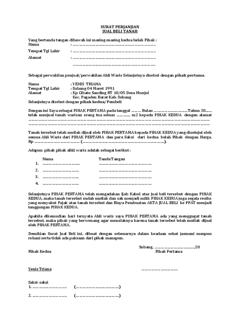 Contoh Surat Pernyataan Jual Beli Tanah Sawah