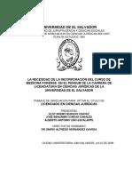 La Necesidad de La Incorporacion Del Curso de Medicina Forense en El Pensum de La Carrera de Licenciatura en Ciencias Juridicas de La Universidad de
