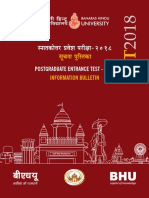 PET Bulletin 2018 of Banaras Hindu university