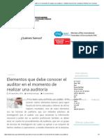 Elementos Que Debe Conocer El Auditor en El Momento de Realizar Una Auditoría - Instituto Nacional de Contadores Públicos de Colombia
